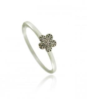 anillo flor diamantes oro blanco