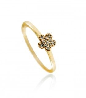 Anillo flor diamantes oro rosa
