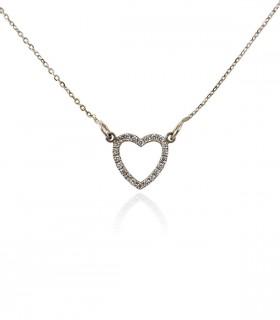 collar corazón diamantes oro blanco
