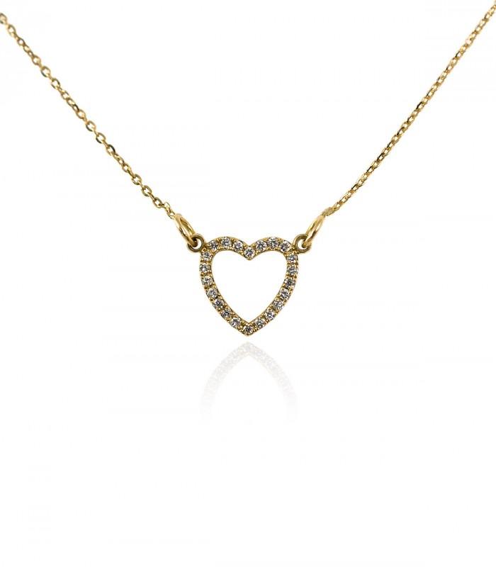 collar corazón diamantes oro amarillo