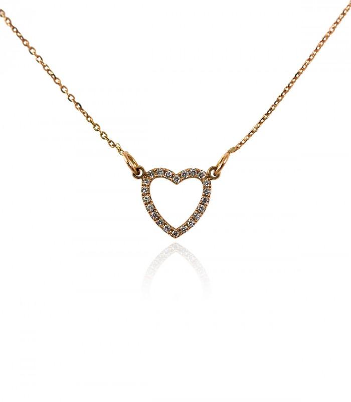 collar corazon diamantes oro rosa