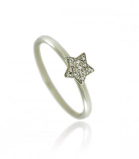 anillo estrella diamantes oro blanco