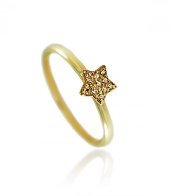 anillo estrella diamantes oro rosa