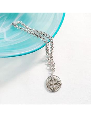 Pulsera de plata con cruz mallorquina