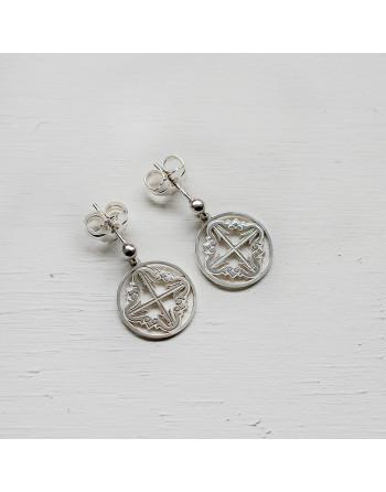 Pendientes de plata cruz mallorquina